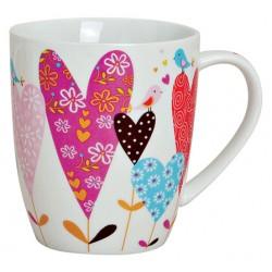 Tasse coeur rose oiseau porcelaine 30 cl