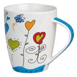 Tasse coeurs papillon porcelaine bleu 30 cl