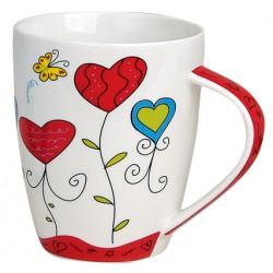 Tasse coeurs papillon porcelaine rouge 30 cl