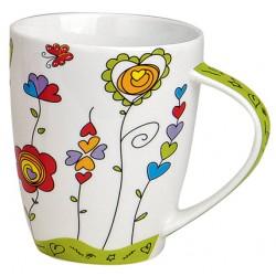 Tasse coeurs papillon porcelaine vert 30 cl
