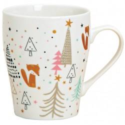 Tasse Noël renard doré porcelaine 30 cl