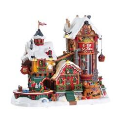 Maison lumineuse animée et sonore Fabrique de jouets des Elfes Lemax