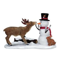 Renne et Bonhomme de neige Lemax