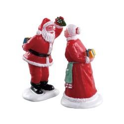 Père et Mère Noël sous le gui Lemax lot de 2