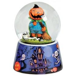Boule à neige Halloween citrouille bleu orange 9 cm