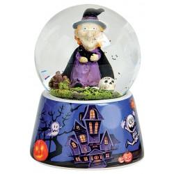 Boule à neige Halloween sorcière bleu violet 9 cm