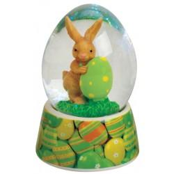 Boule à neige lapin Pâques vert 7 cm