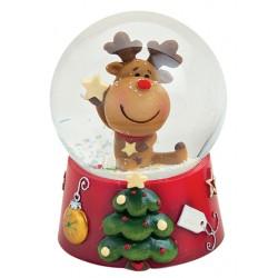 Boule à neige Noël renne étoile résine 9 cm
