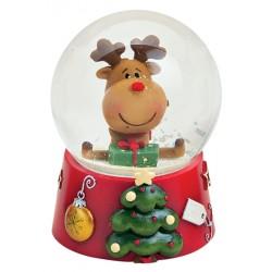 Boule à neige Noël renne cadeau résine 9 cm