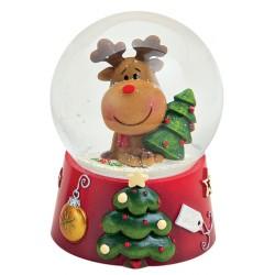 Boule à neige Noël renne sapin résine 9 cm