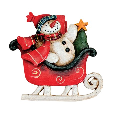 Pince Noël bonhomme de neige traineau rouge 6 cm
