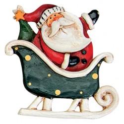 Pince à linge Père Noël traineau vert 6 cm
