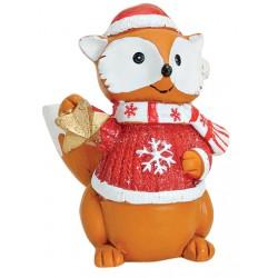 Figurine renard Noël étoile résine 7 cm
