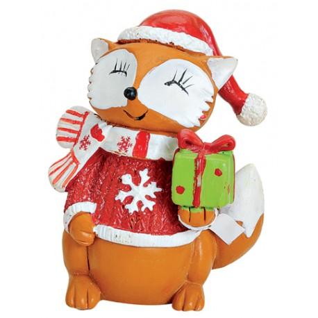 Figurine renard Noël cadeau résine 7 cm