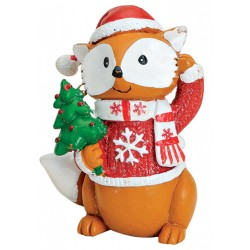 Figurine renard Noël sapin résine 7 cm