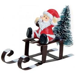 Figurine Noël Père Noël Traineau résine métal 6 cm