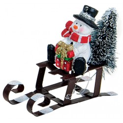 Figurine Noël Bonhomme de neige Traineau résine métal 6 cm