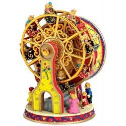 Boîte à musique grande roue dorée résine 14 cm