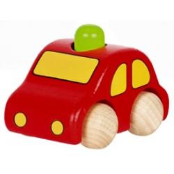 Voiture en bois enfant avec klaxon rouge 9 cm
