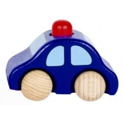 Voiture en bois enfant avec klaxon bleu foncé 9 cm