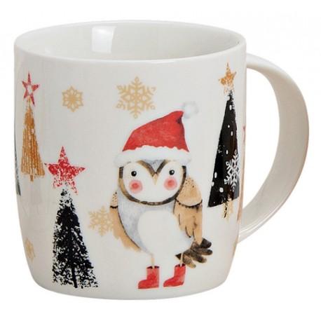 Tasse Noël hibou porcelaine 30cl