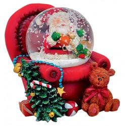 Boule à neige Père Noël fauteuil rouge 6 cm