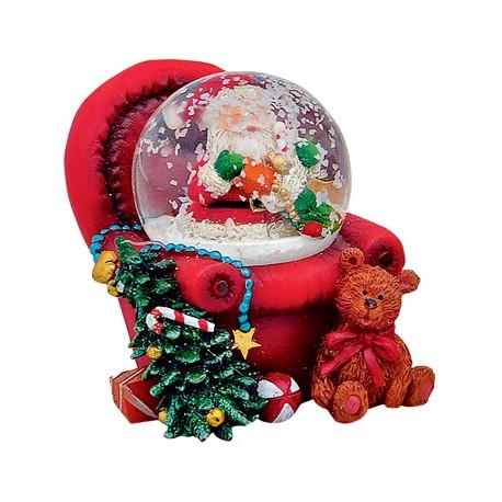 Boule à neige Père-Noël fauteuil rouge