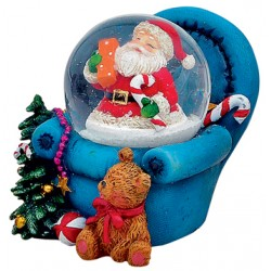Boule à neige Père Noël fauteuil bleu 6 cm