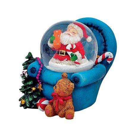 Boule à neige Père-Noël fauteuil bleu