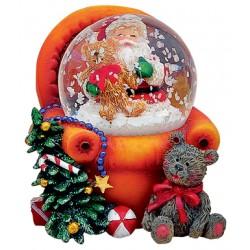 Boule à neige Père Noël fauteuil orange 6 cm
