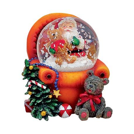 Boule à neige Père-Noël fauteuil orange