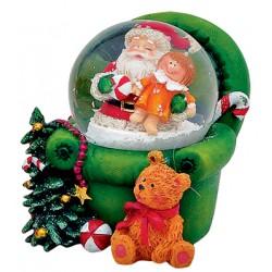 Boule à neige Père Noël fauteuil vert 6 cm