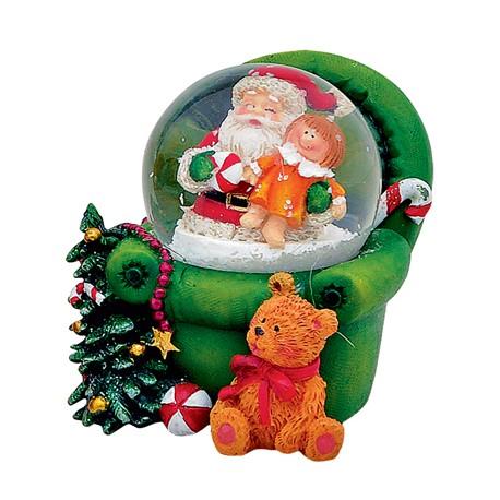 Boule à neige Père-Noël fauteuil vert