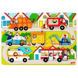Puzzle enfant en bois à encastrement Véhicules 7 pièces