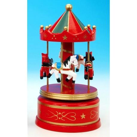Boîte à musique manège en bois rouge 21cm