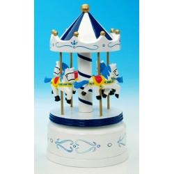 Boîte à musique manège en bois blanc bleu 21 cm