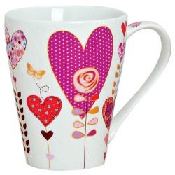 Tasse coeur papillon violet 30 cl