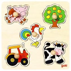 Puzzle enfant en bois ferme 5 pièces