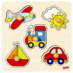Puzzle enfant en bois véhicules 5 pièces