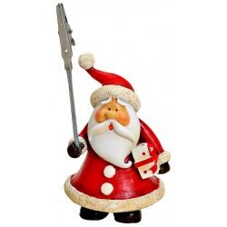 Porte photo Père Noël cadeau résine 11 cm