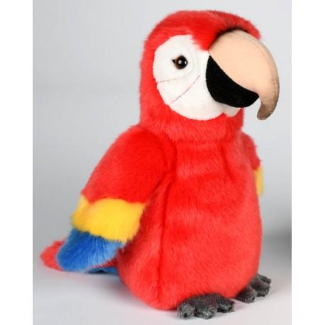 Peluche perroquet rouge jaune bleu 18 cm