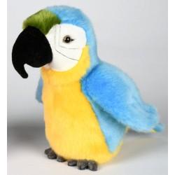 Peluche perroquet bleu jaune vert 18 cm