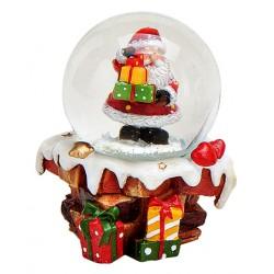 Boule à neige Père Noël cheminée cadeaux 6 cm
