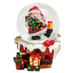 Boule à neige Père Noël cheminée sapin 6 cm