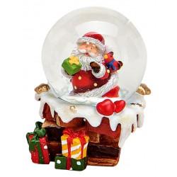 Boule à neige Père Noël cheminée oiseau 6 cm