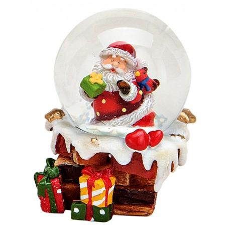 Boule à neige Père Noël cheminée 6cm