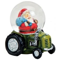 Boule à neige Père Noël tracteur vert 7 cm