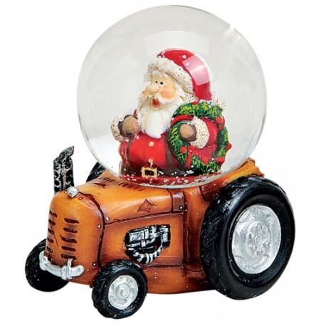 Boule à neige Père Noël tracteur orange 7 cm