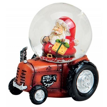 Boule à neige Père Noël tracteur rouge 7 cm