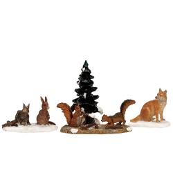 Lapins écureuils et renard